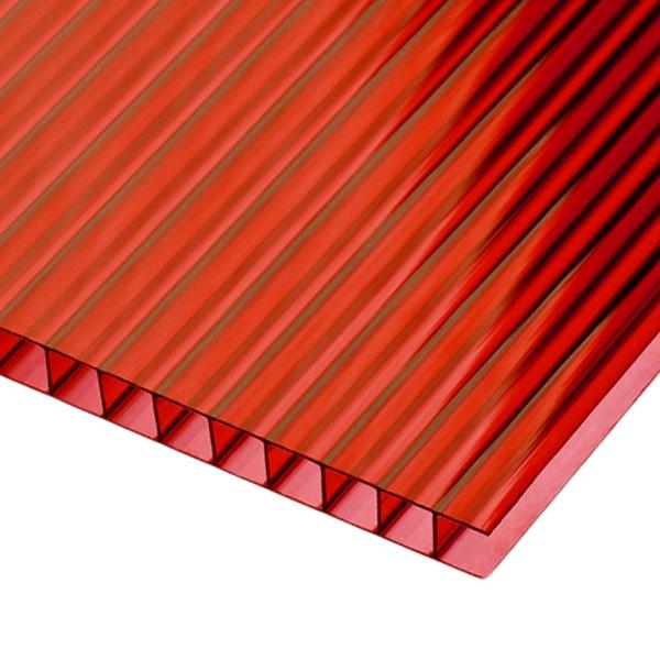 Сотовый поликарбонат Sotalux 8мм красный однокамерный 2100x6000
