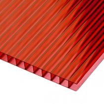 Сотовый поликарбонат Sotalux 4мм красный однокамерный 2100x12000