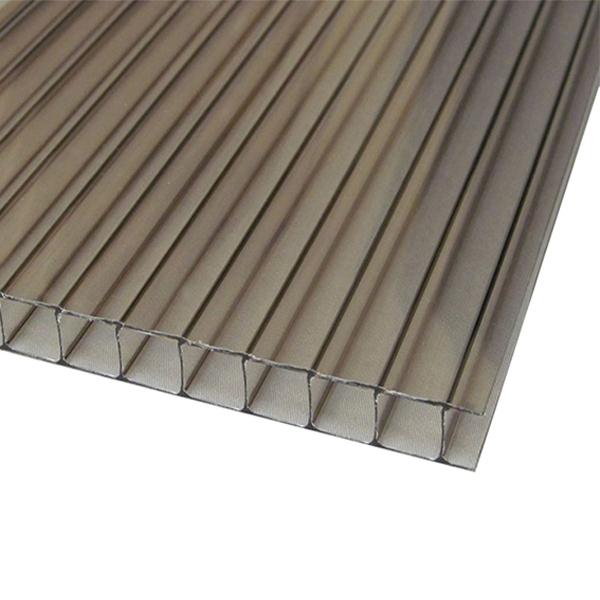 Сотовый поликарбонат Sotalux 4мм серый однокамерный 2100x12000