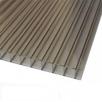 Сотовый поликарбонат Sotalux 10мм серый однокамерный 2100x12000