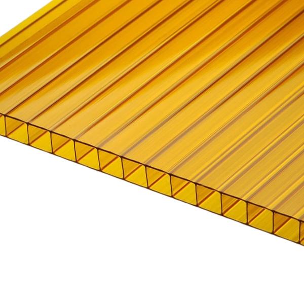 Сотовый поликарбонат Berolux 4 мм желтый двухкамерный 2100x12000